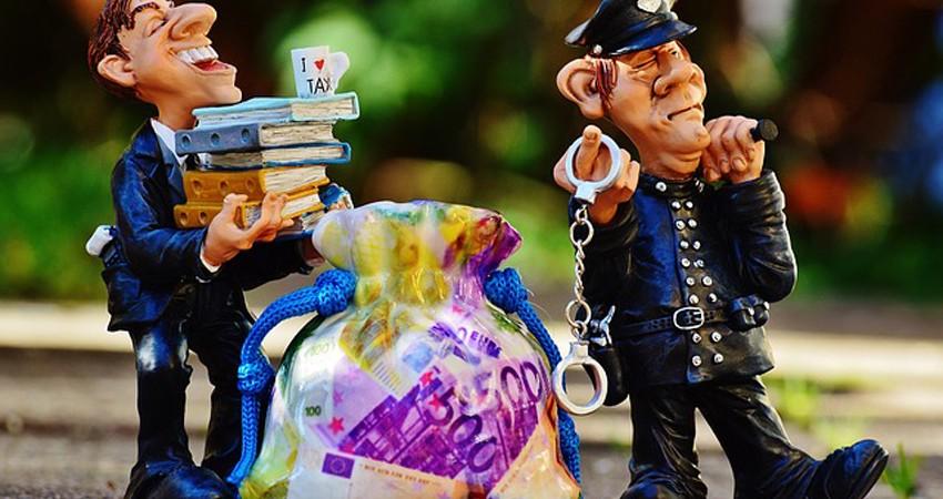 Imagen que representa a un rico y un policia deteníendole