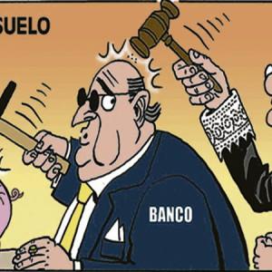 dibujo de un juez golpeando a un banquero que rompe una hucha relativa a la clausula suelo